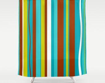 Striped Shower Curtain, Mid Century Modern Shower Curtain,Mod Shower Curtain,Retro Shower Curtain, Funky Shower Curtain