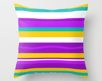 Modern Outdoor Pillow, Purple Pillow, Striped Outdoor Pillow, Mid Century Modern Outdoor Pillow, Outdoor Throw Pillow, Retro PIillow