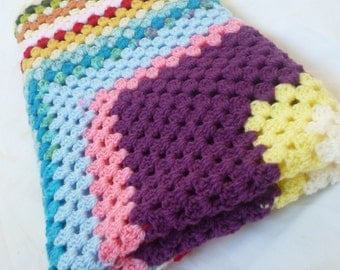 Crochet heirloom square baby blanket - unisex - multi colour