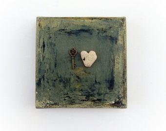 Unique Love Gift, genuine Heart shaped Beach stones rocks, Key and heart, MedBeachStones, Unique Gift For Him, Unique Wall Decor, Home Decor