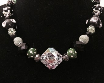 Green and Black Necklace with an Antique Feel