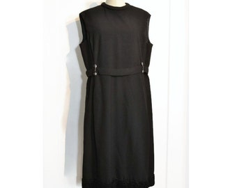 1960's Vintage Dress, Sleeveless Black Dress with Clear and Black Rhinestone Accents, Larger Size