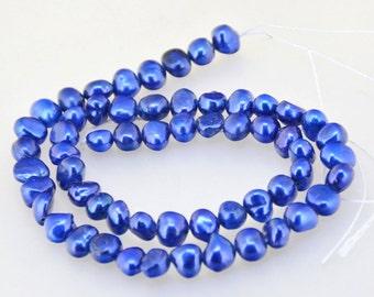 "Luster Blue Flat Freshwater Cultured Pearl Gemstone Beads Strand 14"" Full One Strand  Real Pearl Freshwater Cultured pearl Jewelry"
