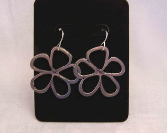 Large Open Flower Earrings, Antique Silver Tone Flower earrings - Silver Flower Jewelry
