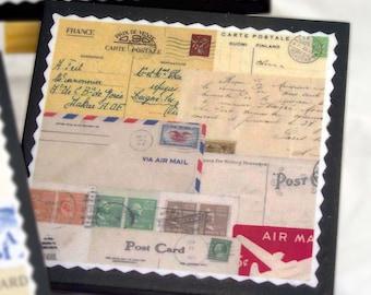 Par Avion Airmail Postcard Coaster Set Travel Decor Tabletop Entertaining