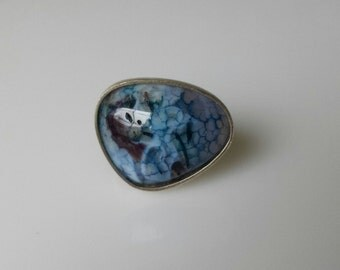 Blue Druzy Agate Sterling Silver Ring size 6 1/4