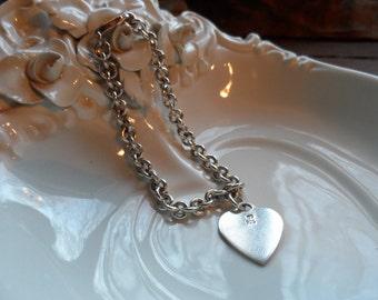 Heart Charm on Bracelet, Marked MD 925