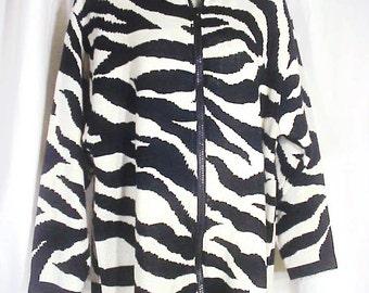 Diane Von Furstenburg Zip Front Tunic Sweater Sz L