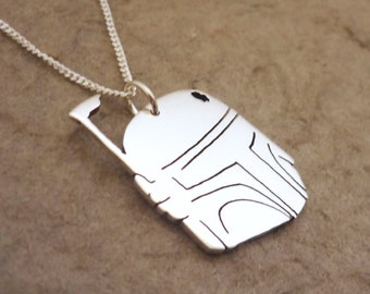 Battle damaged Mandalorian Armor Helmet pendant on chain