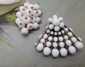 2 Vintage White Bead Dress Clips