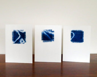 Shibori Hand Dyed Linen Swatch Greeting Cards - Set of 3