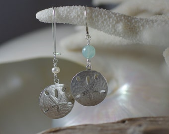 Pewter Sand Dollar Earrings with Sterling Silver Earwires - Pearl or Aqua Amazonite