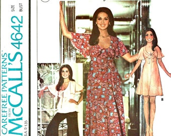 McCall's Pattern 4642 Wide Leg pants,  Dress, Top, Vintage 1970's Marlo Thomas Size 10