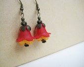Double Layer Red And Yellow Lucite Flower Blossom Bronze Earrings