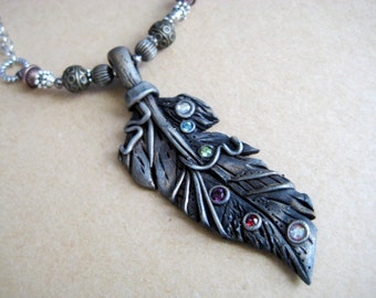 Silver Feather and rainbow jewels necklace - Polymer Clay