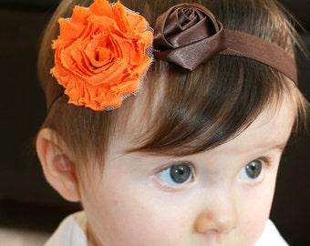 Orange Brown baby Headband, Orange Brown  Headband, Baby  Headband, Thanksgiving Headband.