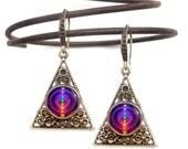 "Reiki Healing, Boho Earrings, Unique Pyramid Jewelry ""Chakra Alignment"""