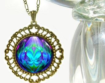 "Purple & Teal Twin Flames Necklace, Hippie Jewelry, Chakra Pendant ""Unity"""