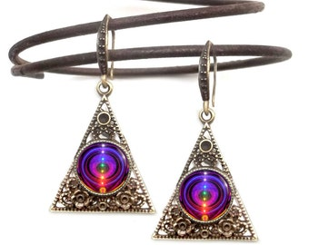"Chakra Earrings, Unique Pyramid Jewelry ""Chakra Alignment"""