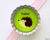 Hedgehog Lime Bottle Cap Magnet - hedgehog baby shower, hedgehog birthday, woodland animal baby shower favor, woodland party favor, wedding