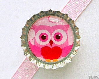 Pink Owl Bottle Cap Magnet, owl magnet, owl theme party supplies owl baby shower favor, owl decor, owl birthday party favor, owl party favor