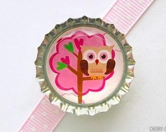 Woodland Owl Pink & Brown Bottle Cap Magnet - owl decor, owl magnet, owl favors, owl theme birthday, owl theme party favor, owl baby shower