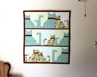 Cats small quilt or wallhanging