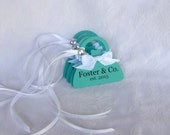 Party Favor Tags, Blue Personalized Purse Shaped Tags, Set of 6 - other colors available
