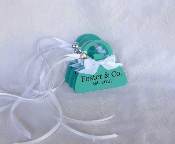 Personalized Blue Purse Shaped Tags, Set of 4, other colors available -- A Precious Memory Designs