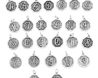 26pcs. Antique Silver LARGE Alphabet Letters- 23mm x 20mm - Stamped Design