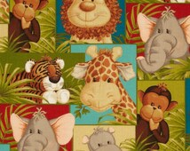 Jungle Babies fabric patchwork Safari per yard by Patty Reed / African fabrics/ Quilting/ Accessories