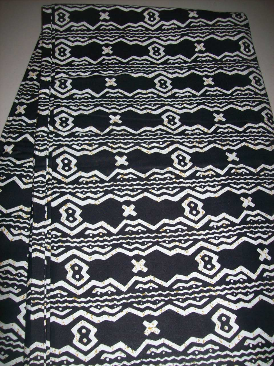 Black and White Ethnic Tribal print African cotton fabric per