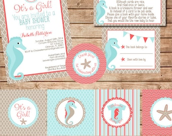 Aqua and Coral Printable Baby Shower Supplies with Beach Theme, Invitation, Cupcake Toppers, Banner, Water Bottle Labels
