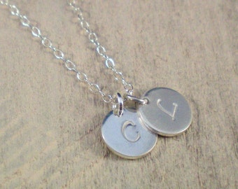 Silver Tiny Initials Necklace - Handstamped Initial Necklace - Silver Necklace -  Couples Jewelry - 2 Initials Necklace