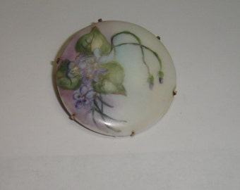 Antique Gilt Silver Victorian Hand painted Limoges Floral Pin Brooch