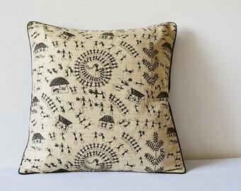Black and Natural Warli Print Pillow Cover , Printed Cushion Cover , Black and Natural Decorative Pillow , Accent Pillow , Throw Pillow