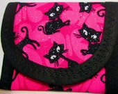 Fabric Wallet Halloween Glitter Black Cat on Hot Pink 4 x 3 Coin Purse, Goody Bag, Clutch, lined Black fabric Pleated Ribbon inside