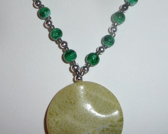 Green Stone Necklace - Green Beaded Necklace - Green Jade, Green Glass - Green and Silver (sale/originally 19.99)