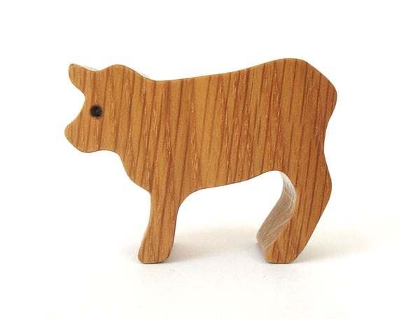 Small Toy Cows : Miniature wooden cow toy waldorf wood country farm animal