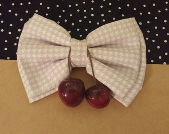 KYLIE- houndstooth -cherry bow