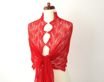 red lace shawl with beads, ON SALE 30% OFF, fine wool wrap, handknitted