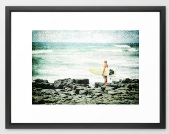 Surfer Girl, Poipu, Kauai, Lava, Prince Kuhio Park, Print, Fine Art Photography, fPOE, (6 Sizes), Beach Art