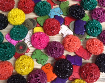 Destash Bead Lot Floral Acrylic & Stone Elephants and more