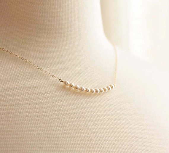 Tiny Pearl Necklace, Dainty Row of Swarovski Pearls, Sterling Silver, Gold Pearl Necklace, Bridal Necklace, Bridesmaid Necklace, Layering