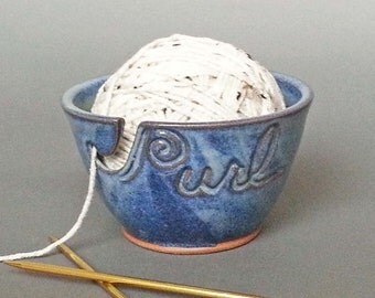 Yarn Bowl Cobalt Blue (As Featured in Vogue Knitting) Large Size Fits Whole Skein