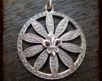Antique large French Silver fleur de lis filigree pendant - medal from France for Jewelry assemblage projects