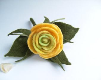 Felt Flower Brooch - Needle Felted Brooch - Yellow