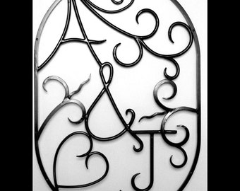 """GREAT ANNIVERSARY Gift Hand Forged Iron Metal Steel Initials Ovular Wall Art Sign (24""""wide X 36""""tall) by VinTin (Item# W-804)"""
