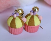 Crazy circus candy cupcake pink base earrings with pearl