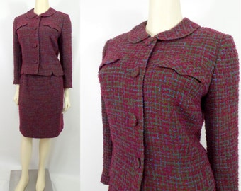 Vintage 1960s Davidow tailored boxy suit Bouclé skirt jacket Jackie Kennedy First Lady Maroon Burgundy Plaid ILGWU Union label